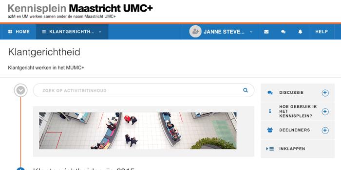 Online omgeving over Klantgerichtheid op 70:20:10 platform van MUMC+